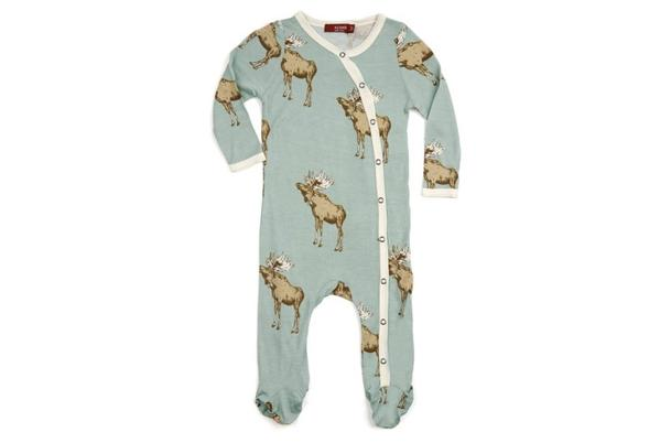 Milkbarn Footed Romper Bamboo Bow Tie Moose