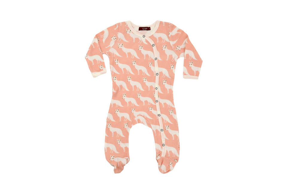 Milkbarn Footed Romper Organic Cotton Pink Fox