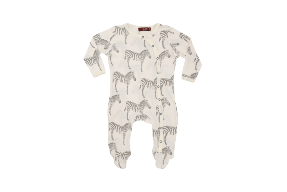 Milkbarn Footed Romper Organic Cotton Grey Zebra