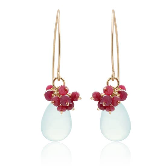 Chuang Yi Gallery -  Chalcedony & Ruby Cluster Earrings