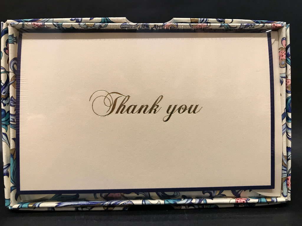 Rossi Thank You Cards - Blue/Pink Florentine
