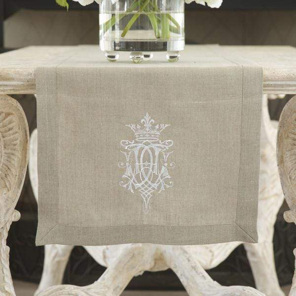 Crown Linen Designs - Royal Linen Table Runner, Taupe/White