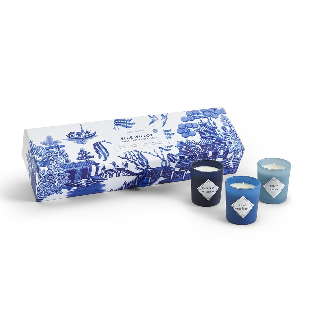 Two's Company Blue Willow Set of 5 Scented Candles