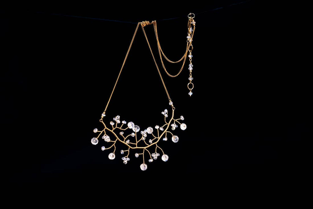 Chuang Yi Gallery - Gold Branching Moonstone Necklace