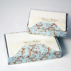 Rossi Note Cards - Light Blue Florentine
