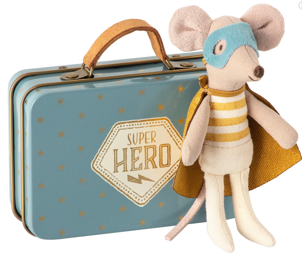 Maileg - Superhero Little Mouse in Suitcase