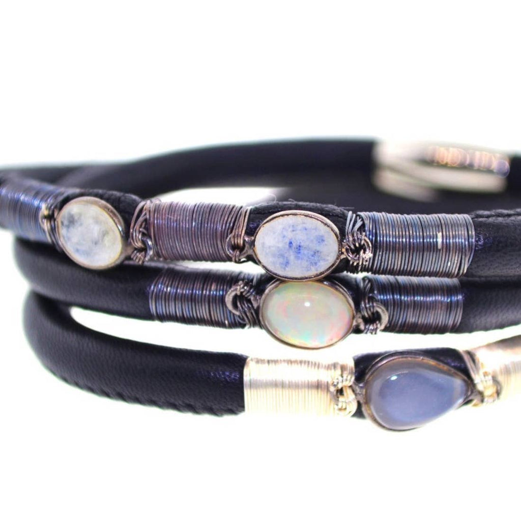 Mabel Chong - Black Triple Leather Bracelet with Grey Gems