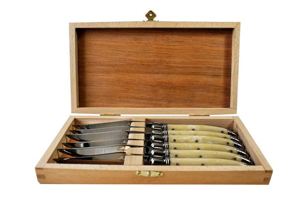 Kiss That Frog - Laguiole Pale Horn Platine Knives in Wooden Presentation Box (Set of 6)