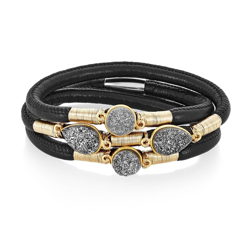 Mabel Chong - Glam Druzy Triple Leather Bracelet