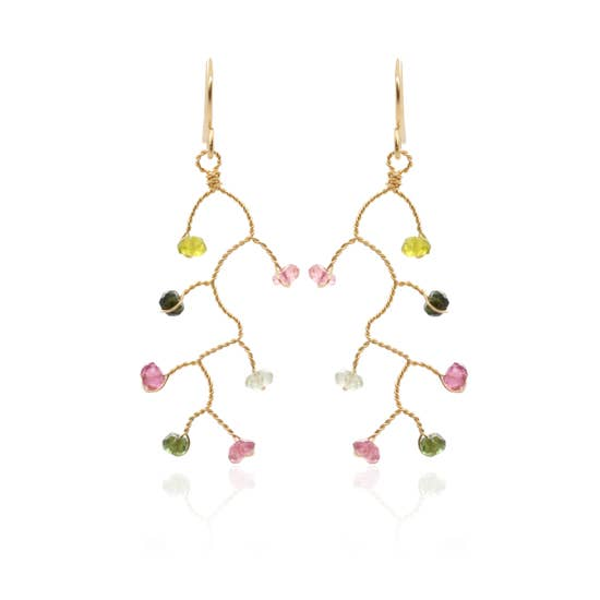 Chuang Yi Gallery -  Tourmaline Branch Earrings
