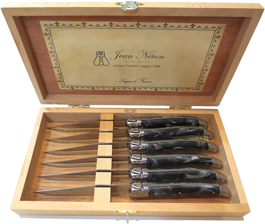 Kiss That Frog - Laguiole Black Marble Platine Knives in Wooden Presentation Box (Set of 6)