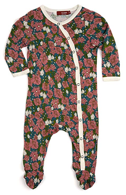 Milkbarn Footed Romper Organic Cotton Teal Floral