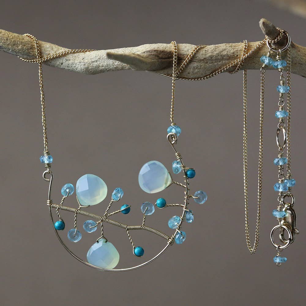 Chuang Yi Gallery - Chalcedony & Turquoise Tree Necklace