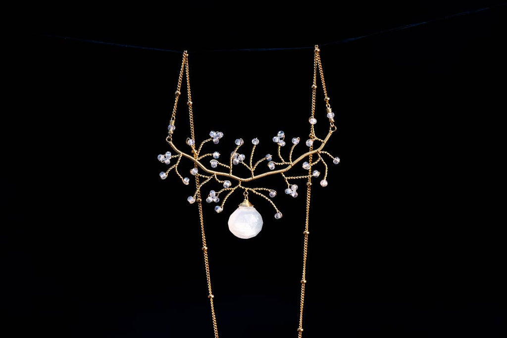 Chuang Yi Gallery -  Gold Tree with Large Moonstone Drop Necklace