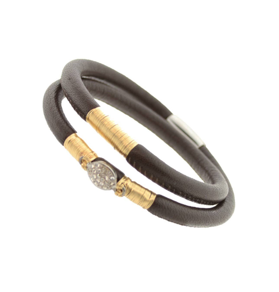 Mabel Chong -   Chocolate Double Leather Bracelet, small
