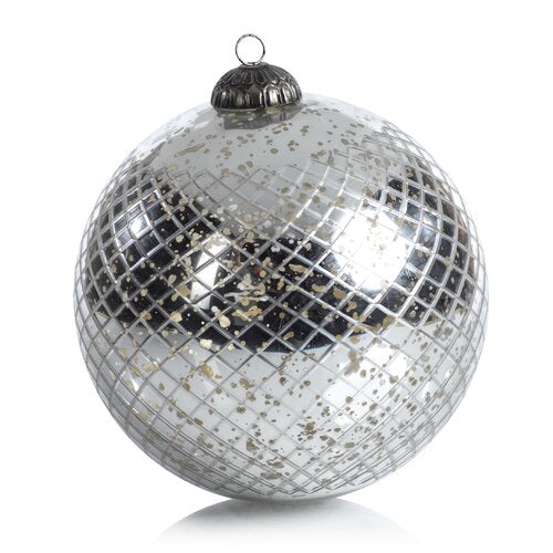 Zodax - Antique Diamond Cut Ball Ornament Silver - 8""