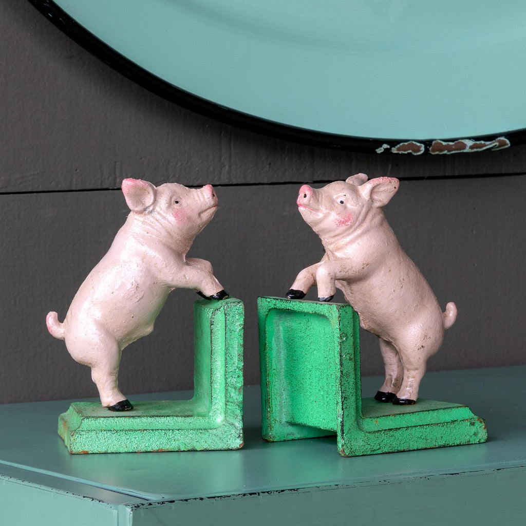 Park Hill - Cast Iron Pig Book Ends, Set of 2