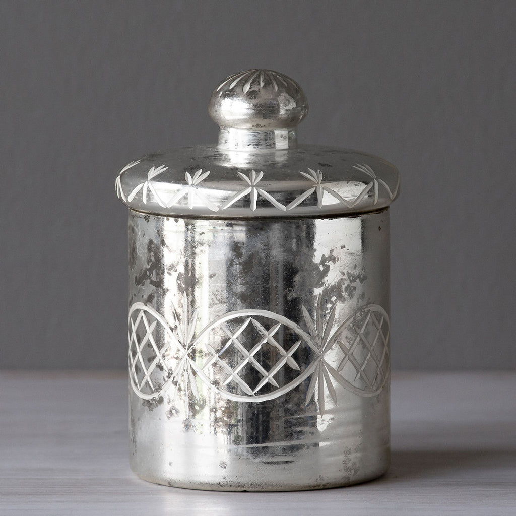 Park Hill - Mercury Glass Etched Cylinder With Lid