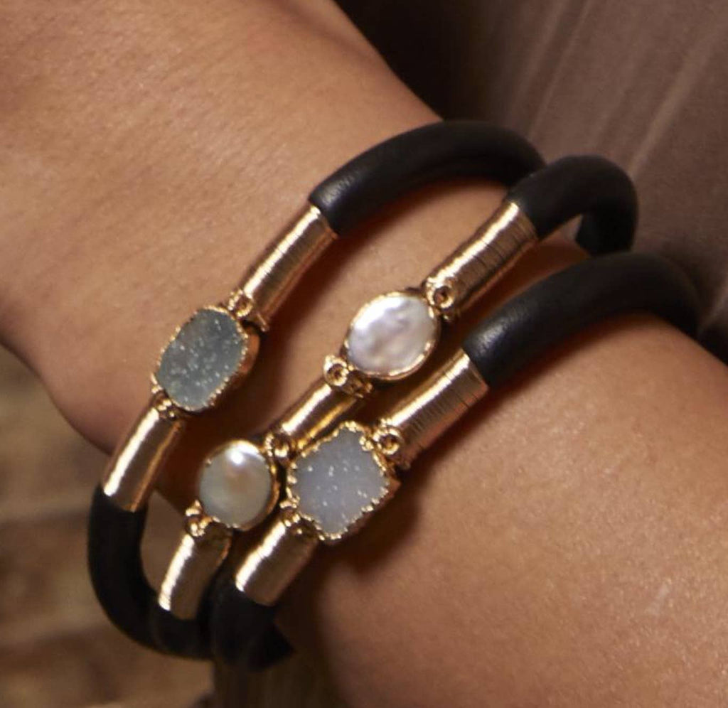 Mabel Chong - Druzy & Pearl Leather Bracelet