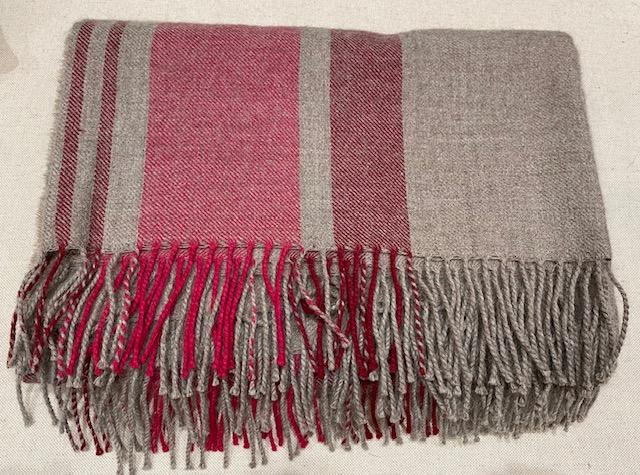 Alicia Adams Alpaca -  Campa Fringed Throw Taupe/Cranberry/Raspberry