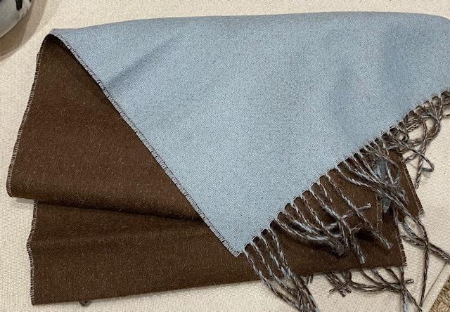 Alicia Adams Alpaca - Men's Reversible Scarf, Cafe/Light Blue