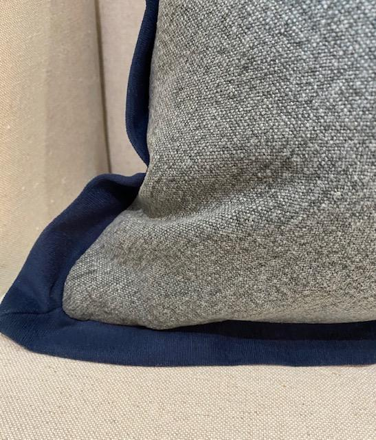 Park Hill - Blue Washed Cotton Pillow with Velvet Flange