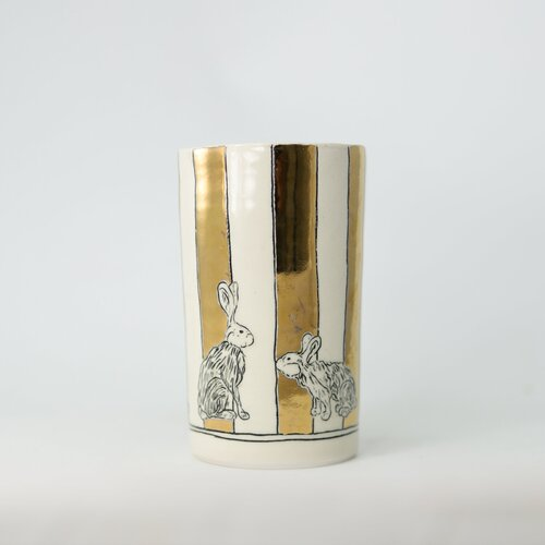 HOPE + MARY Woodland Animals Mix Stripe Tall Vase