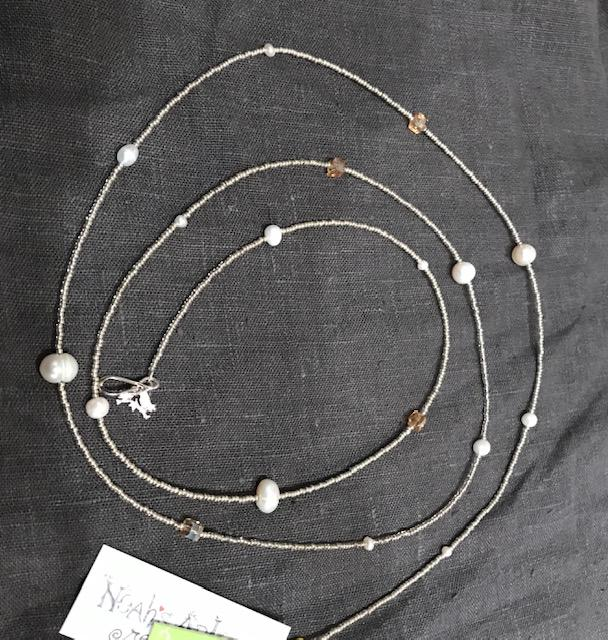 Ali & Bird Jewelry - Silver Pearl & Crystal Henrietta Necklace
