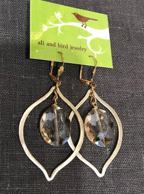 Ali & Bird Jewelry - Champagne Crystal and Gold Earrings