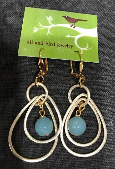 Ali & Bird Jewelry - Gold and Amazonite Earrings
