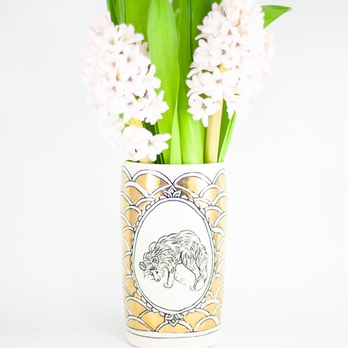 HOPE + MARY Gold Woodland Animal Arched Tall Vase