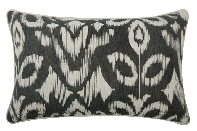 "Thomas Paul - Ikat Pillow - Charcoal, 12"" x 20"""