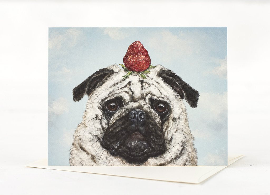 Hester & Cook Strawberry Pug Blank Card