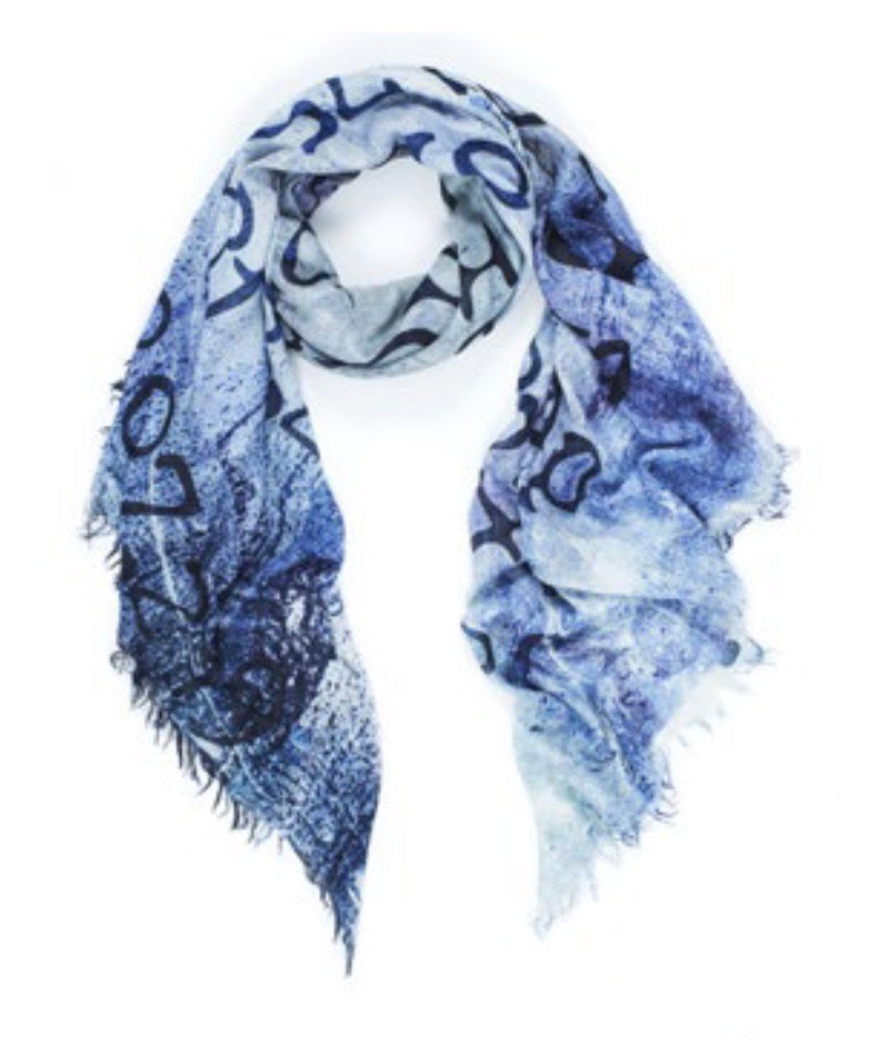 Suzi Roher Scarf - LOVE INDEX BLUE