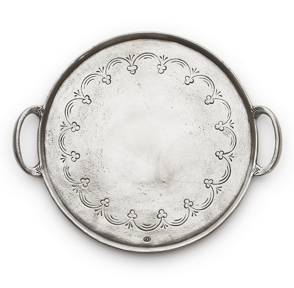 Arte Italica - Vintage Pewter Round Tray With Handles