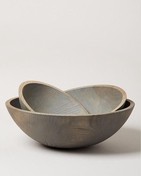 "Farmhouse Pottery - Crafted Wooden Bowl, Grey, 15"" and 17"""