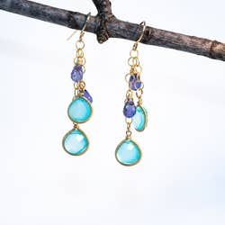 Chuang Yi Gallery - Chalcedony & Iolite Chain Earrings