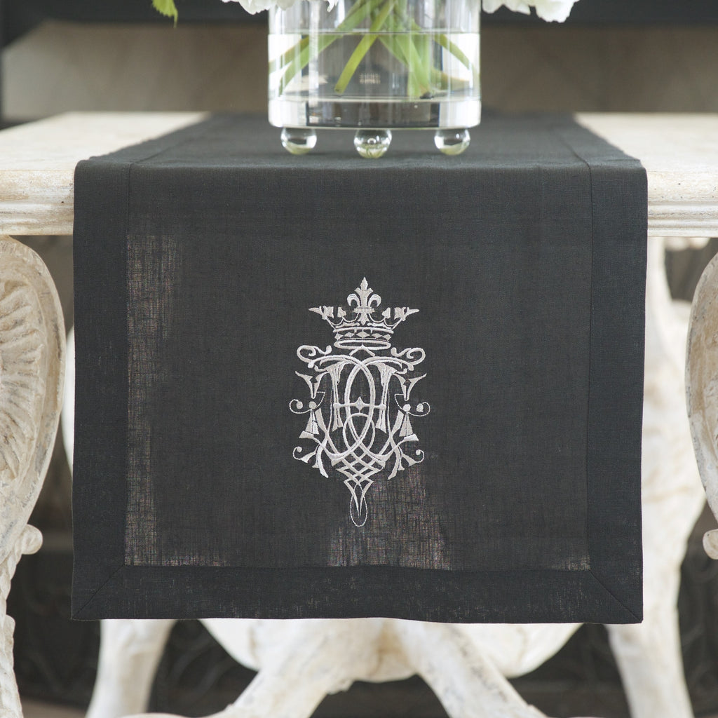 Crown Linen Designs - Royal Linen Table Runner, Black/Taupe