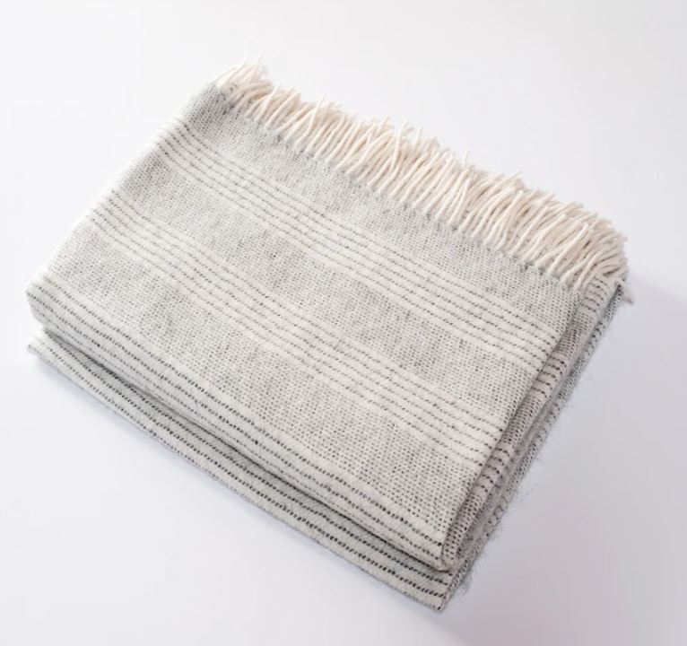 Henry Harlow - Stripe Alpaca Throw, Cloud