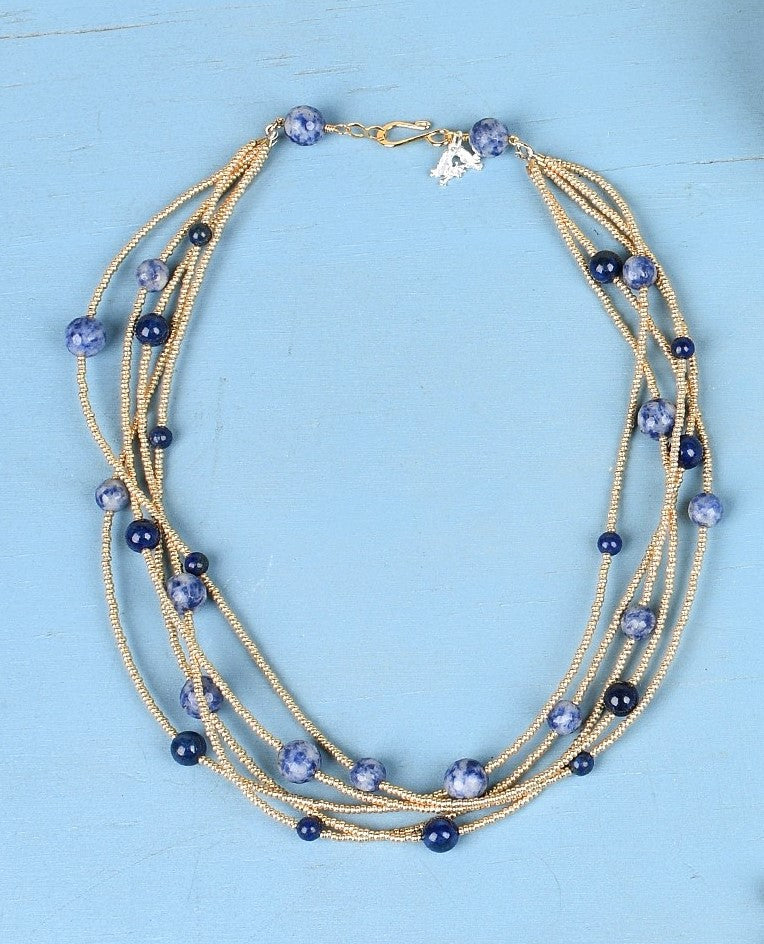 Ali & Bird Jewelry - 5 Strand Necklace, Lapis on Gold