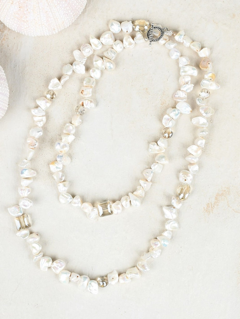 Ali & Bird Jewelry - Heishi Pearl & Champagne Crystal Necklace