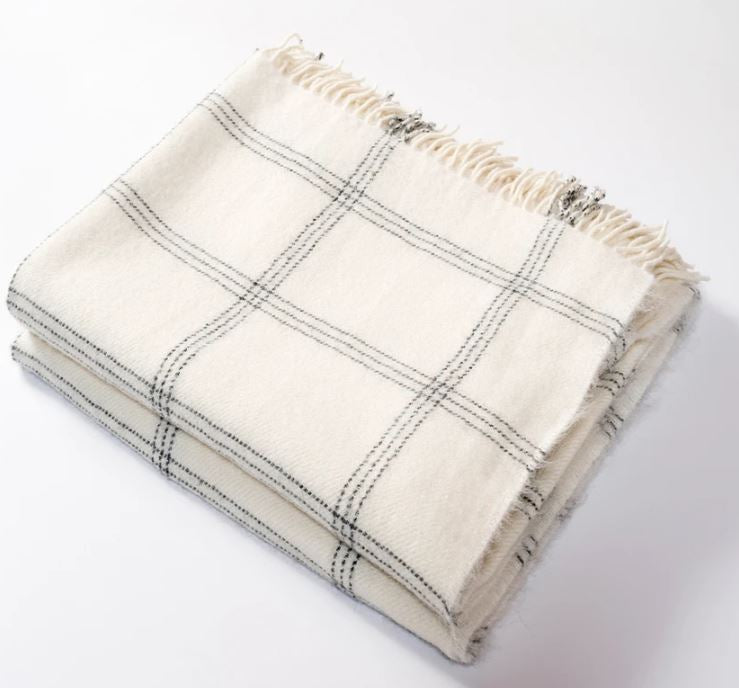 Henry Harlow - Windowpane Alpaca Throw, Cream