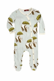 Milkbarn Footed Romper Organic Cotton Blue Panda