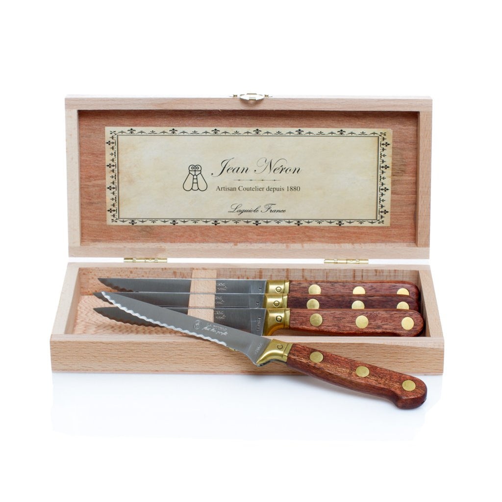 Kiss That Frog - Laguiole Laiton Steak Knives in Wooden Presentation Box (Set of 4)