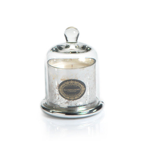 Zodax Candle Jar with Dome, Antique Silver w/ French Red Currant, Small