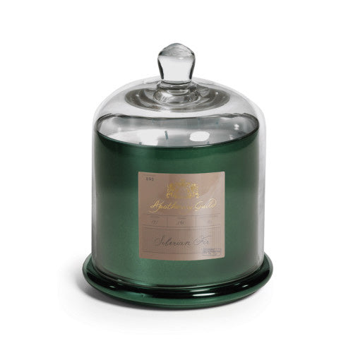 Zodax Apothecary Guild Candle Jar with Dome, Green glass w/ Siberian Fir, Medium