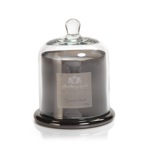 Zodax Apothecary Guild Candle Jar with Dome, Platinum w/ Peppered Smoke, Medium