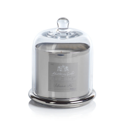 Zodax Apothecary Guild Candle Jar with Dome, Silver w/ Siberian Fir, Large