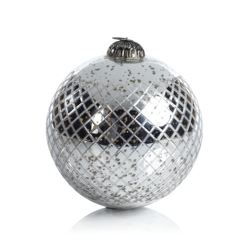 Zodax - Antique Diamond Cut Ball Ornament Silver - 4""