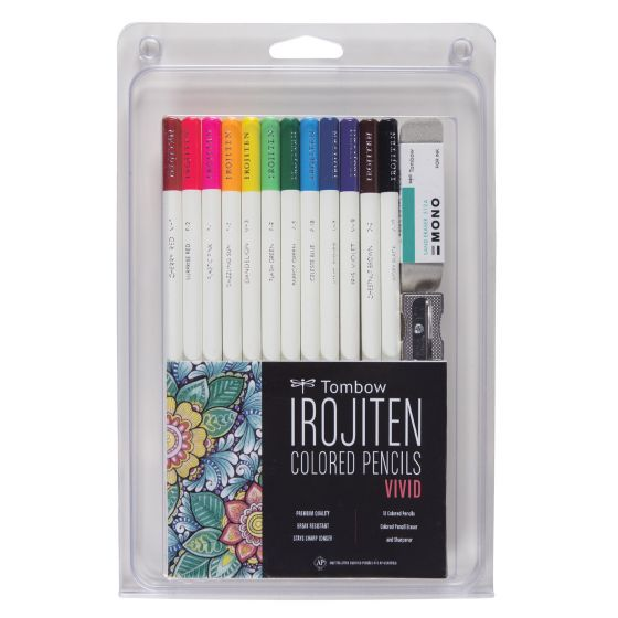 Tombow -Irojiten Colored Pencil Set, Vivid - 12 Pack